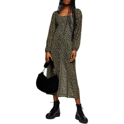Topshop Long Sleeve Floral Mesh Midi Dress