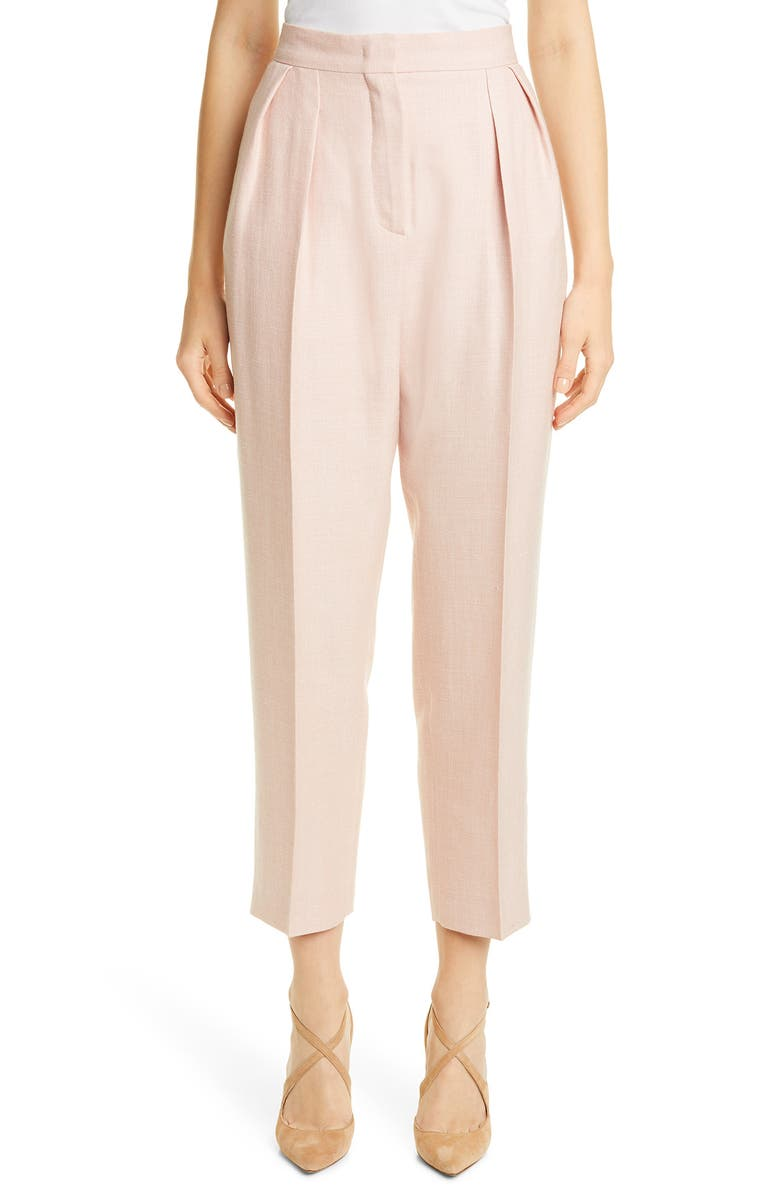 MAX MARA Mantide Pleated Silk, Linen & Wool Crop Pants, Main, color, 650