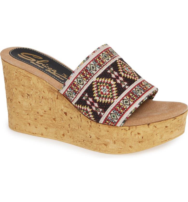 SBICCA Orabela Platform Wedge Sandal, Main, color, BLACK MULTICOLOR FABRIC