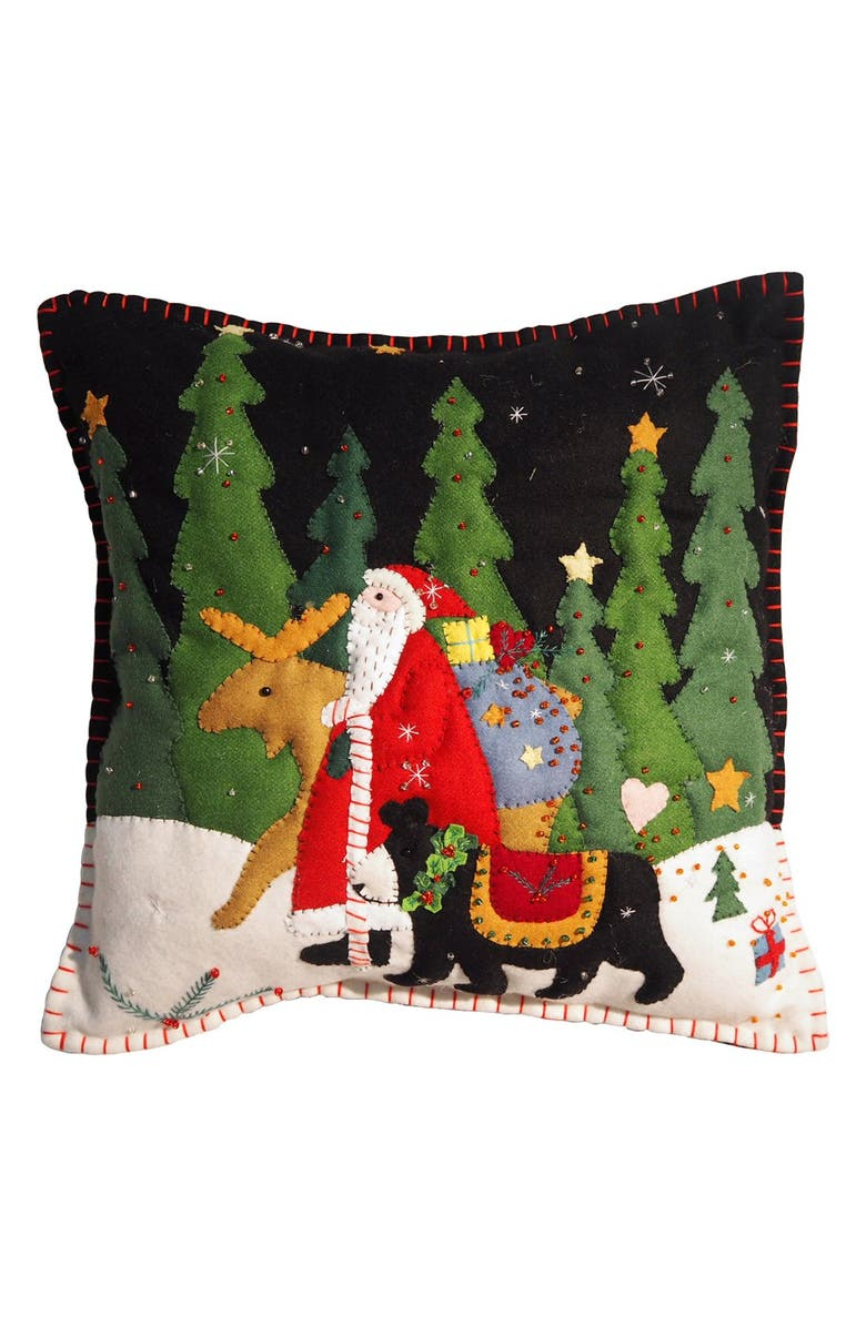 NEW WORLD ARTS 'Santa Walking with Moose & Bear' Accent Pillow, Main, color, BLACK