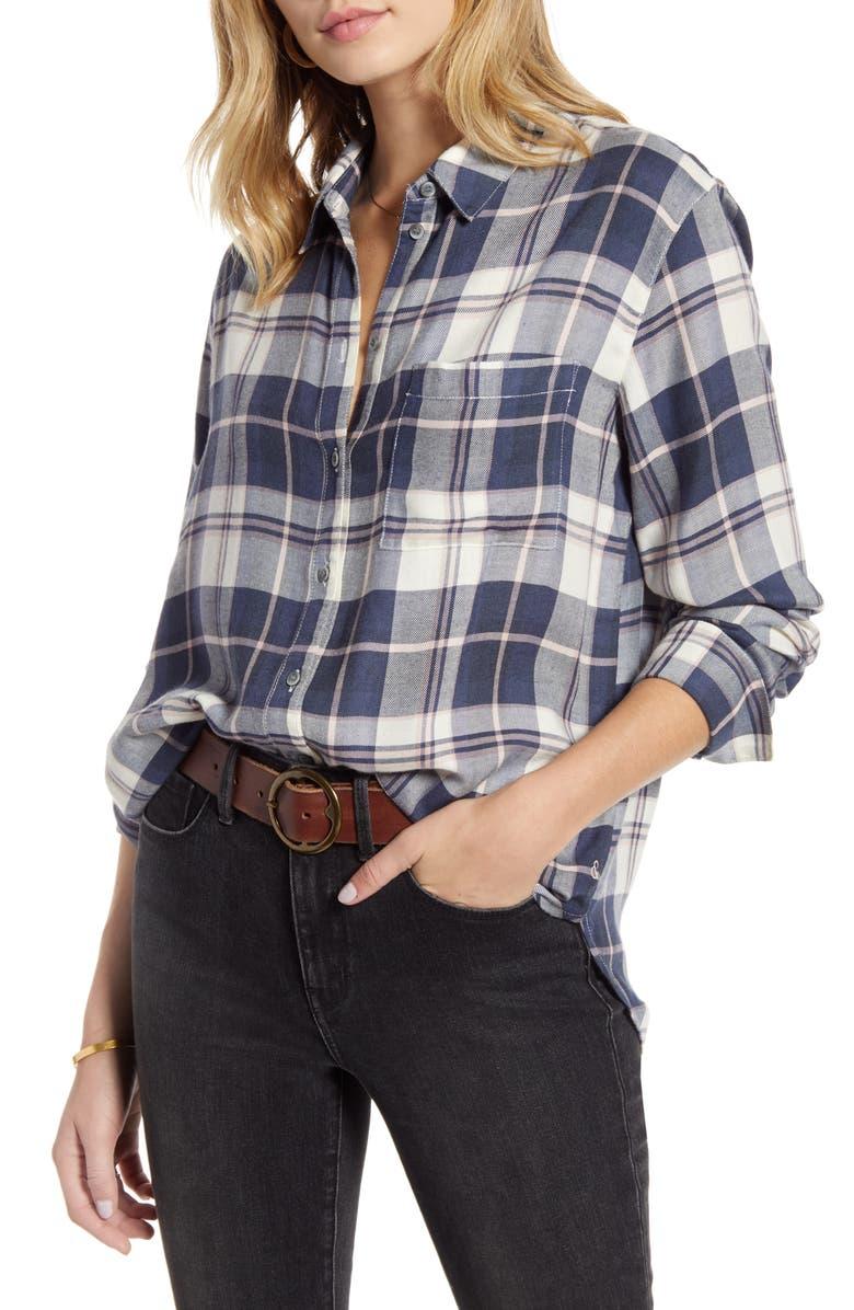 TREASURE & BOND Plaid Boyfriend Shirt, Main, color, GREY BRIGID PLAID