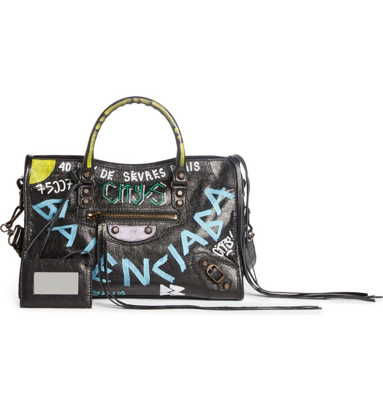 BALENCIAGA Small City Graffiti Leather Tote, Main, color, NOIR MULTI