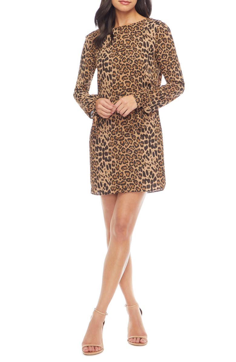 DRESS THE POPULATION Dahlia Long Sleeve Minidress, Main, color, TAUPE LEOPARD MULTI