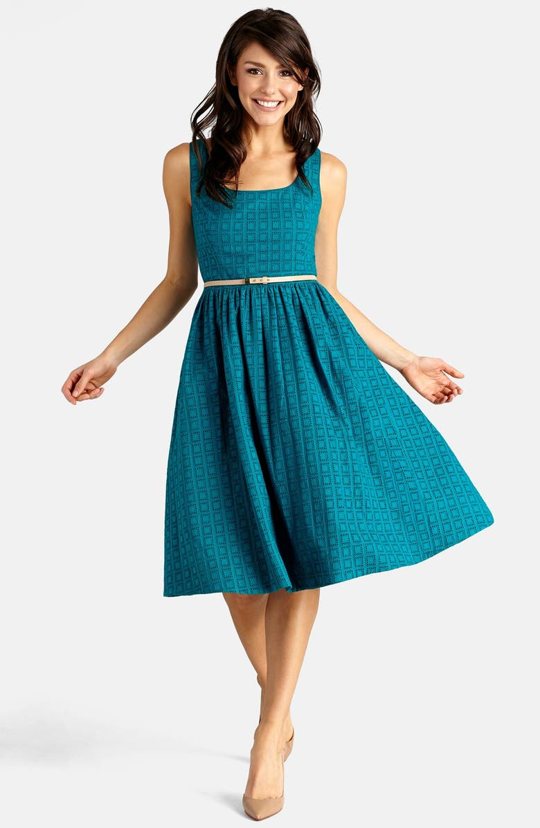 DONNA MORGAN Belted Eyelet Lace Fit & Flare Dress, Main, color, 446