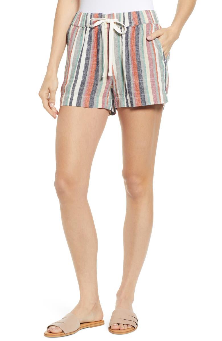 CASLON<SUP>®</SUP> Stripe Linen Shorts, Main, color, 260
