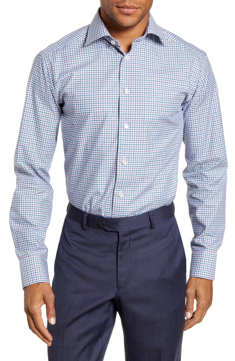 ETON Contemporary Fit Check Print Dress Shirt, Main, color, BLUE