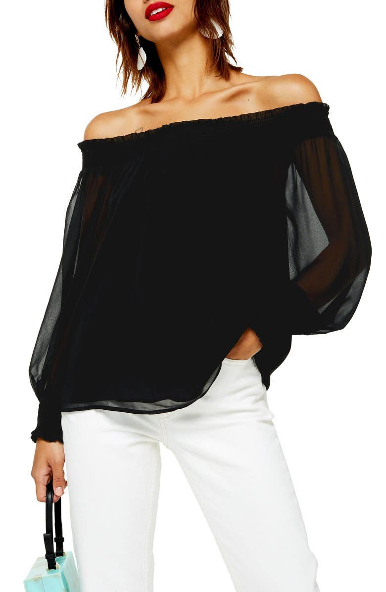 TOPSHOP Sheer Off the Shoulder Blouse, Main, color, 001