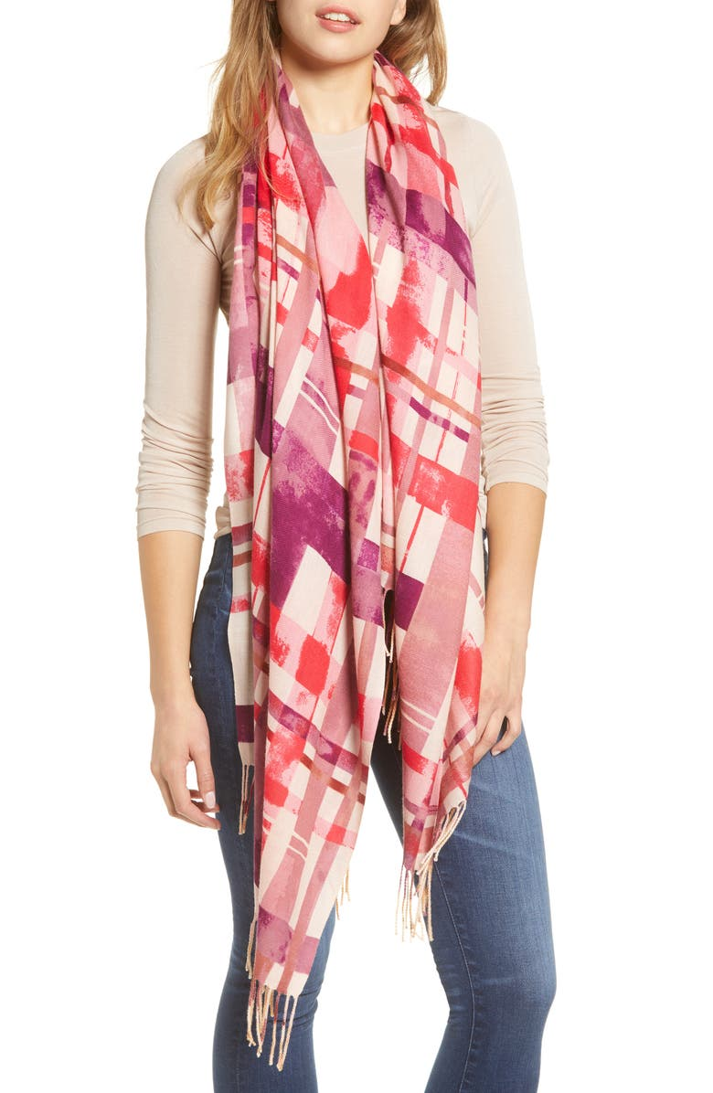 NORDSTROM Tissue Print Wool & Cashmere Wrap Scarf, Main, color, PINK CAMPAGNE CHECK PRINT