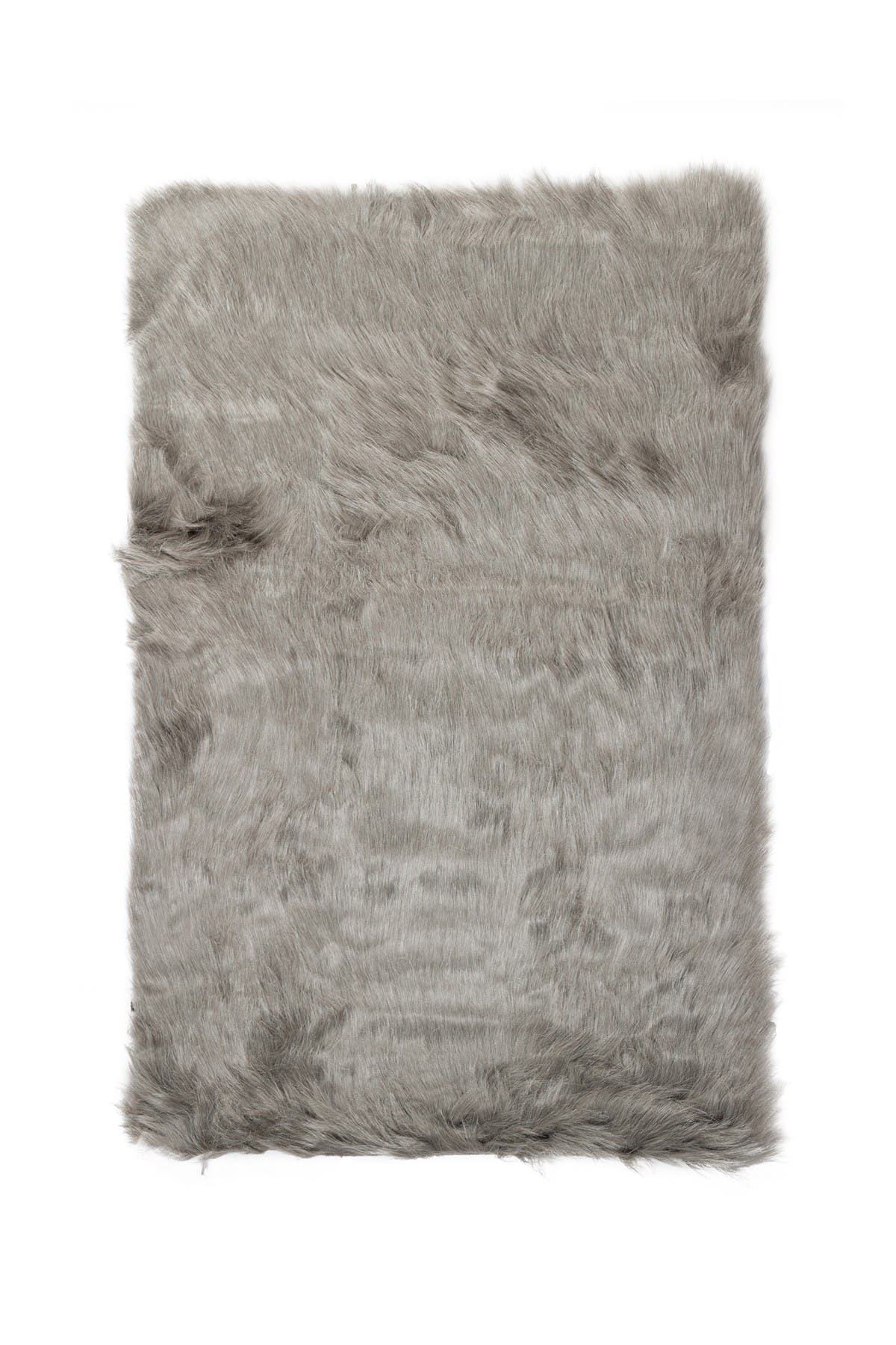 Image of LUXE Hudson Faux Sheepskin Rug/Throw - Gray