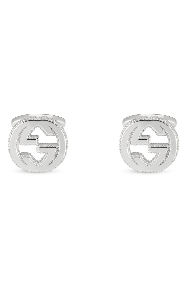 GUCCI Double-G Cuff Links, Main, color, STERLING SILVER