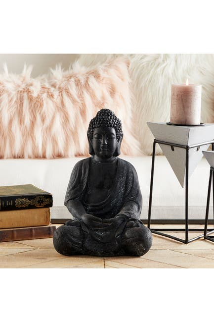 Image of CosmoLiving by Cosmopolitan Traditional Ceramic Sitting Buddha Sculpture