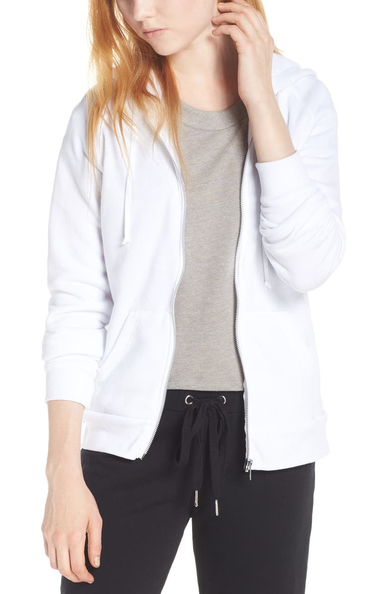 ALTERNATIVE Adrian Zip Hoodie, Main, color, ECO WHITE