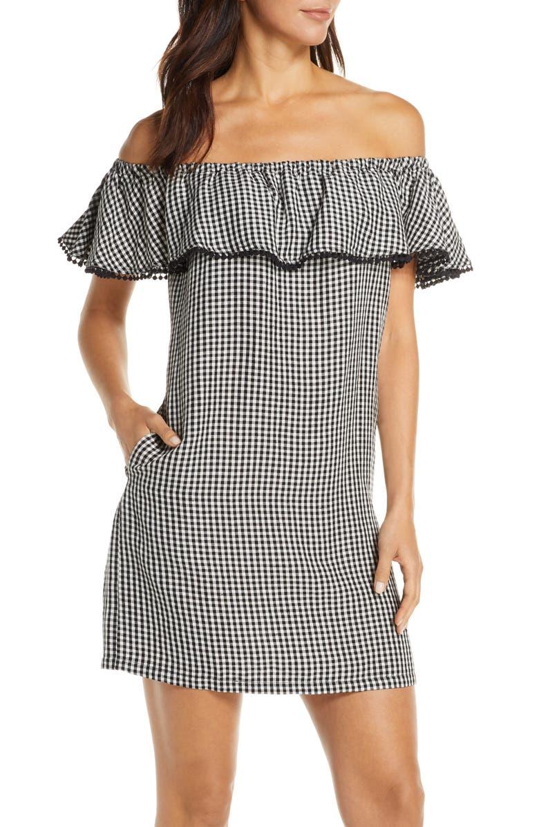 TOMMY BAHAMA Off the Shoulder Gingham Cover-Up Dress, Main, color, BLACK/ WHITE