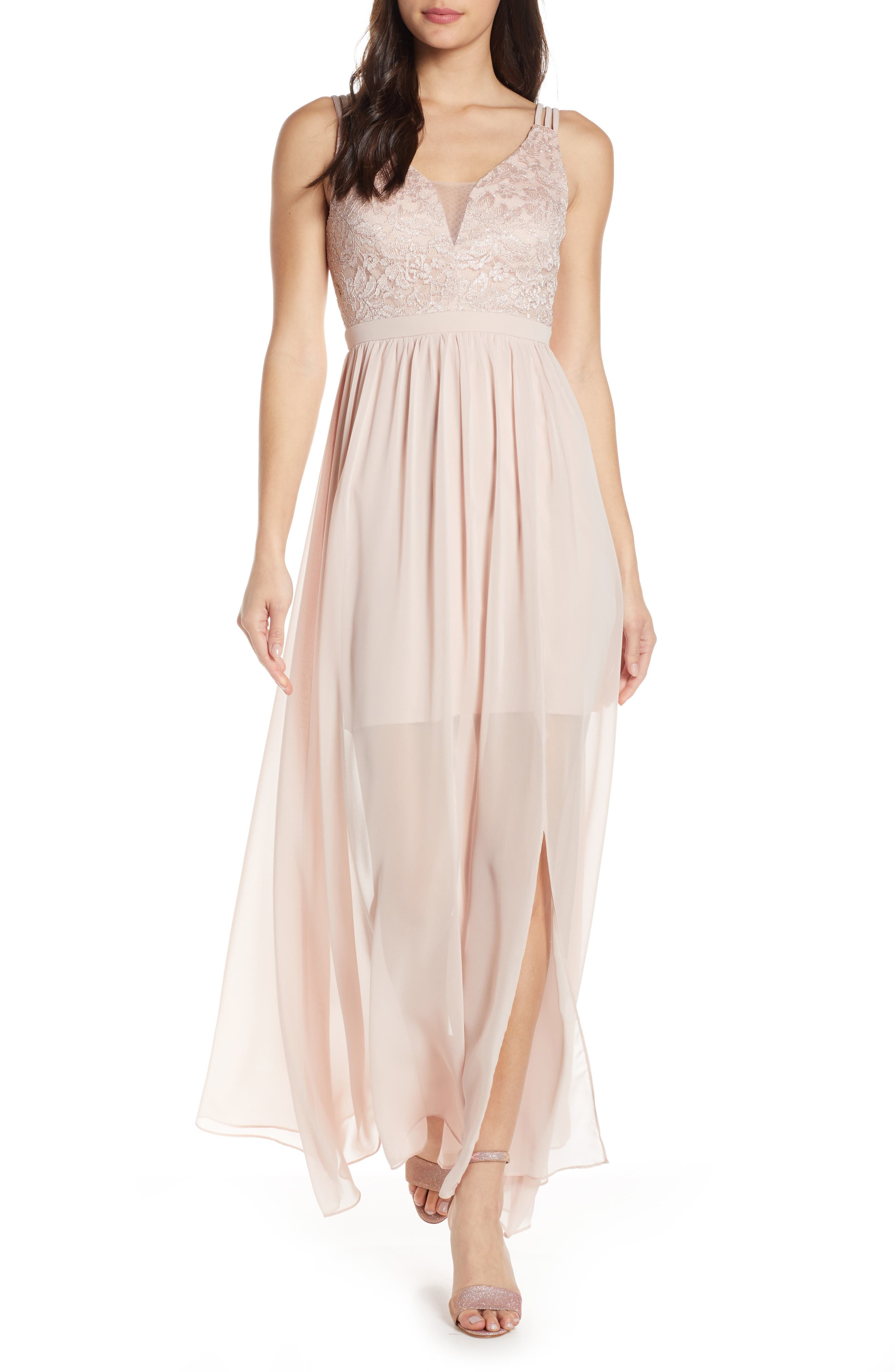 Morgan & Co. Strappy Lace Bodice Chiffon Gown, Beige