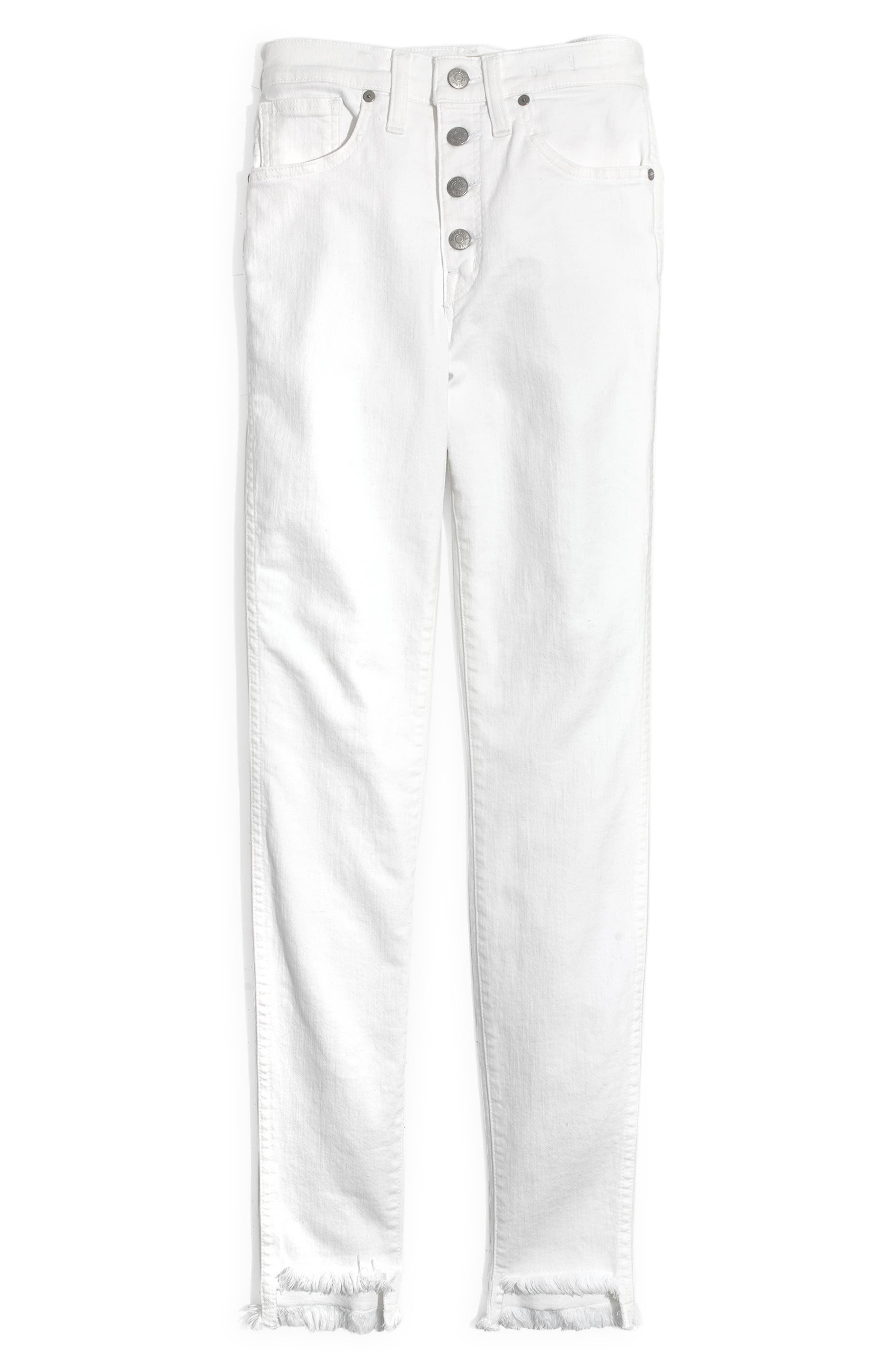 ,                             10-Inch High Waist Button Front Ankle Skinny Jeans,                             Alternate thumbnail 7, color,                             PURE WHITE
