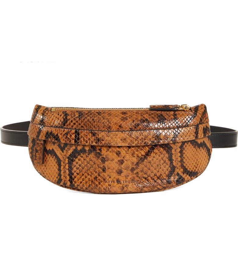 AVEC LA TROUPE Python Print Leather Belt Bag, Main, color, 200