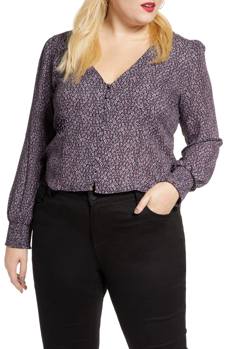 LEITH Front Button Printed Top, Main, color, BLACK ABSTRACT DOT