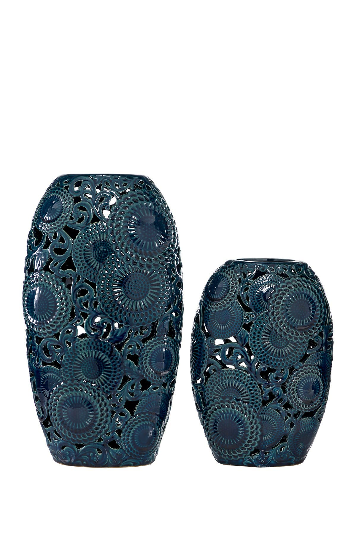 Image of Willow Row Blue Ceramic Vase With Decorative Holes - Set of 2