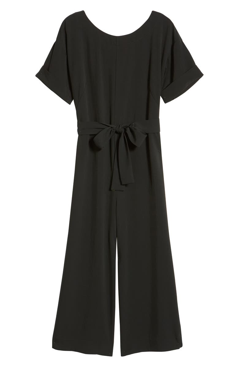 EVERLANE The Japanese GoWeave Short Sleeve Jumpsuit, Main, color, 001