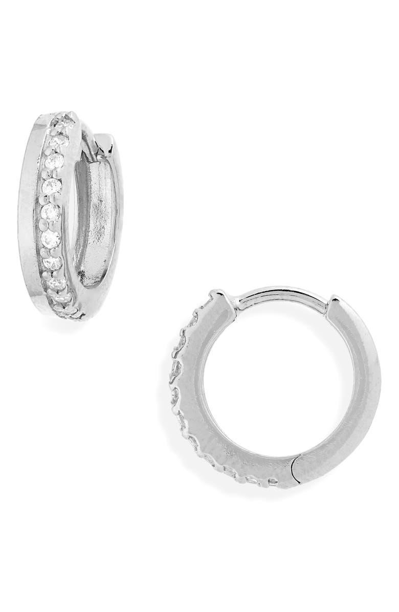 ARGENTO VIVO Pavé Huggie Earrings, Main, color, 040