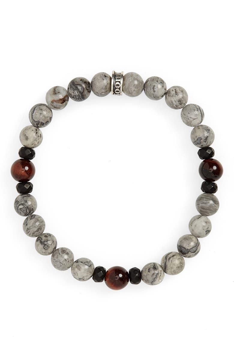 ROOM101 Polished Stone Bracelet, Main, color, RED/ GREY