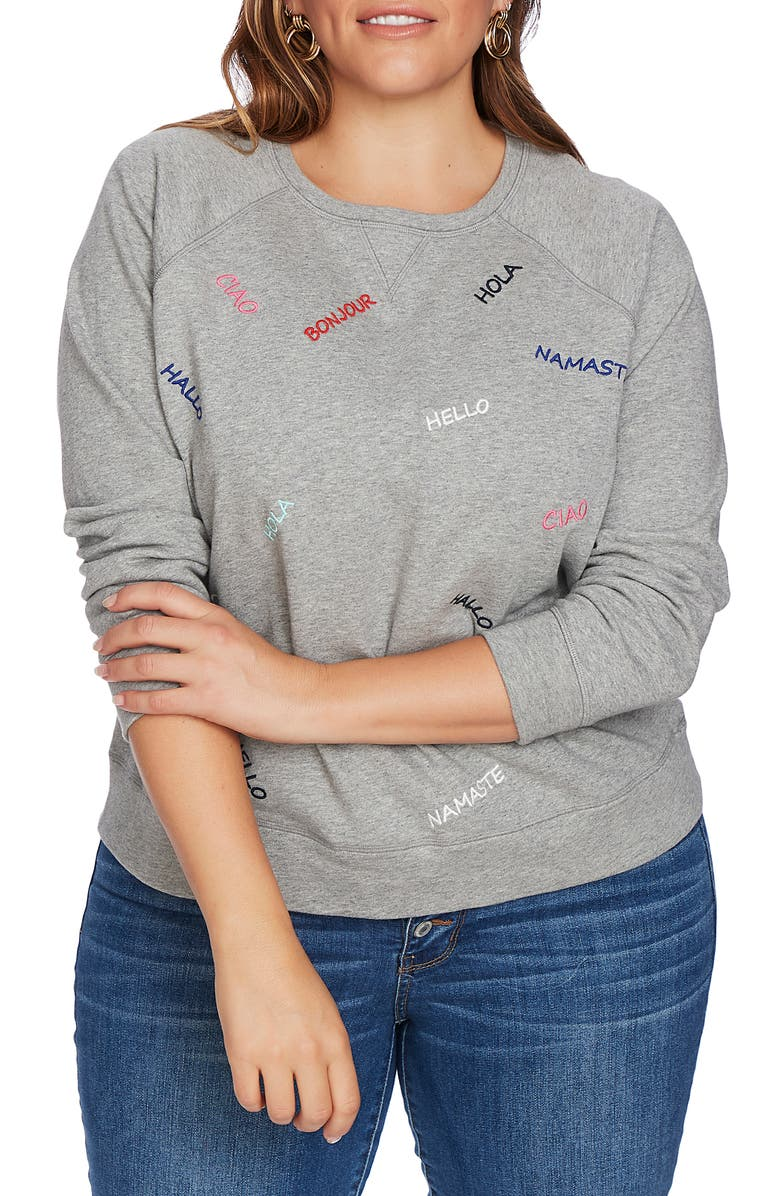 COURT & ROWE Embroidered French Terry Sweatshirt, Main, color, GREY HEATHER