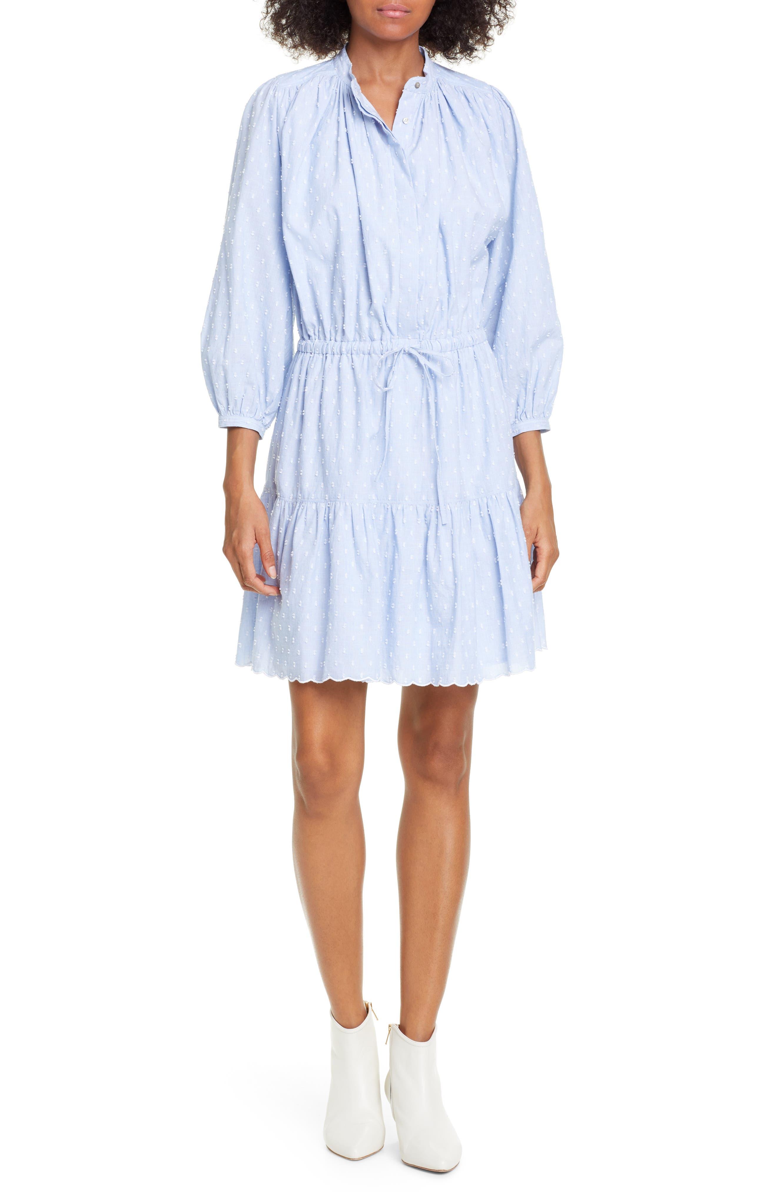 Joie Adel Swiss Dot Dress, Blue