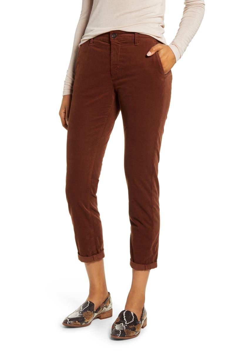 AG Caden Crop Corduroy Pants, Main, color, DUSTY AUBURN
