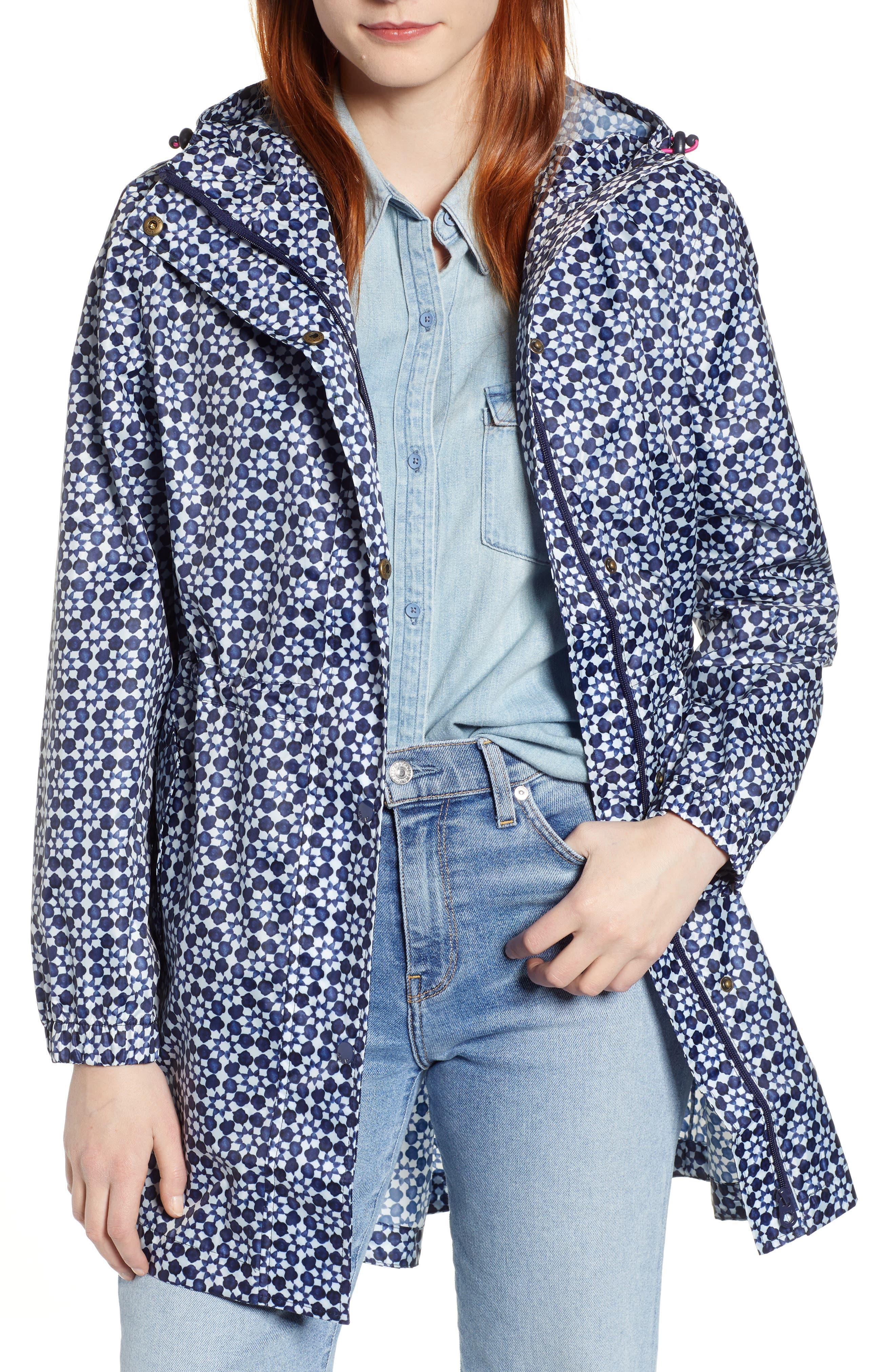 ,                             Go Lightly Waterproof Pack Away Hooded Jacket,                             Main thumbnail 1, color,                             NAVY GEO
