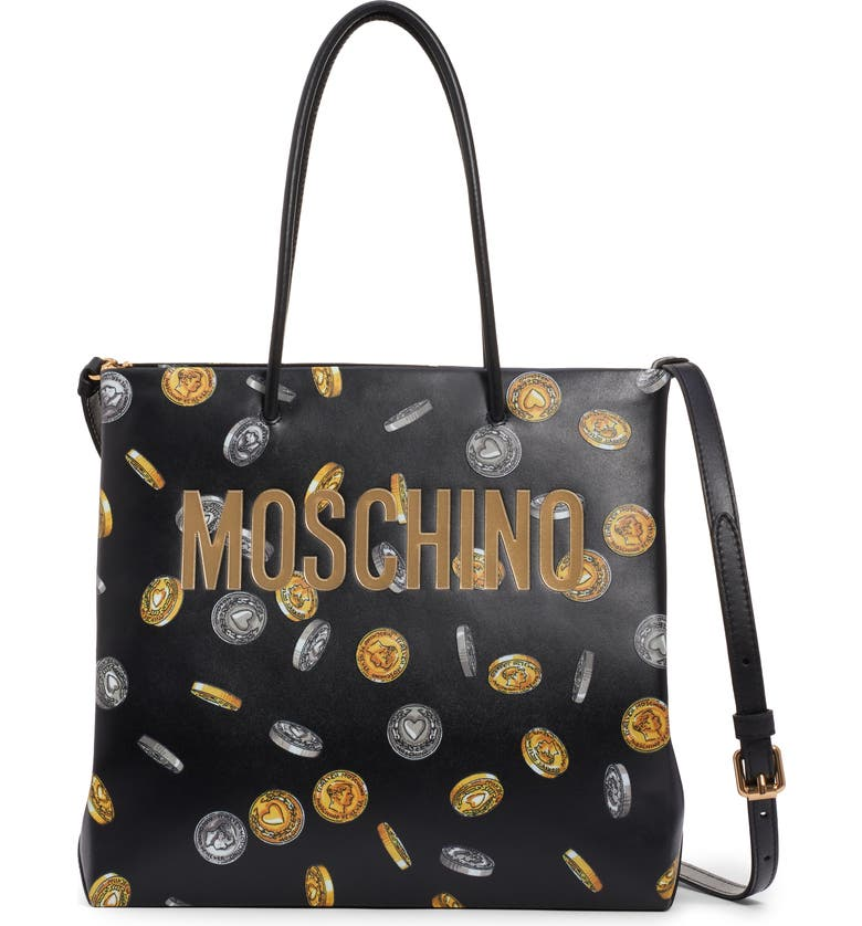 MOSCHINO Logo Coin Print Faux Leather Tote, Main, color, BLACK