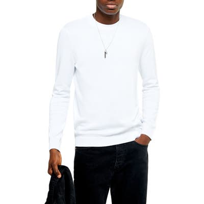 Topman Essential Classic Fit Crewneck Sweater, White