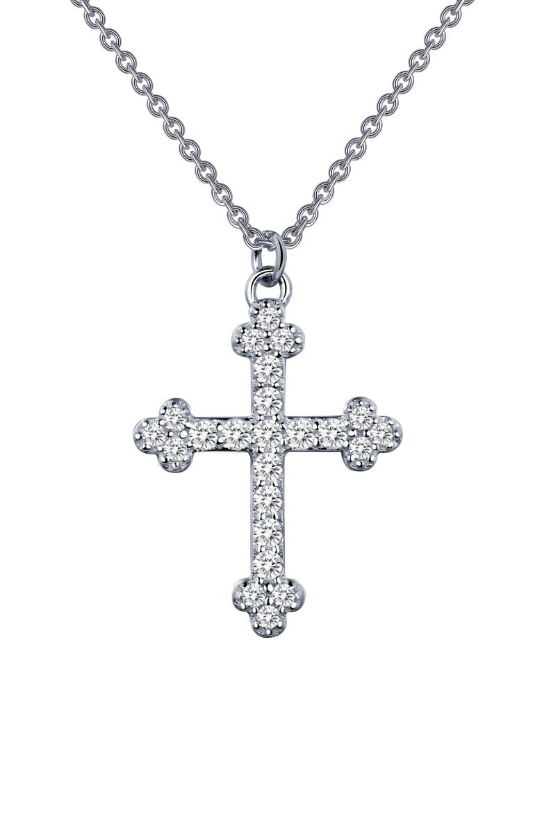LAFONN Pavé Simulated Diamond Cross Pendant Necklace, Main, color, SILVER/ CLEAR