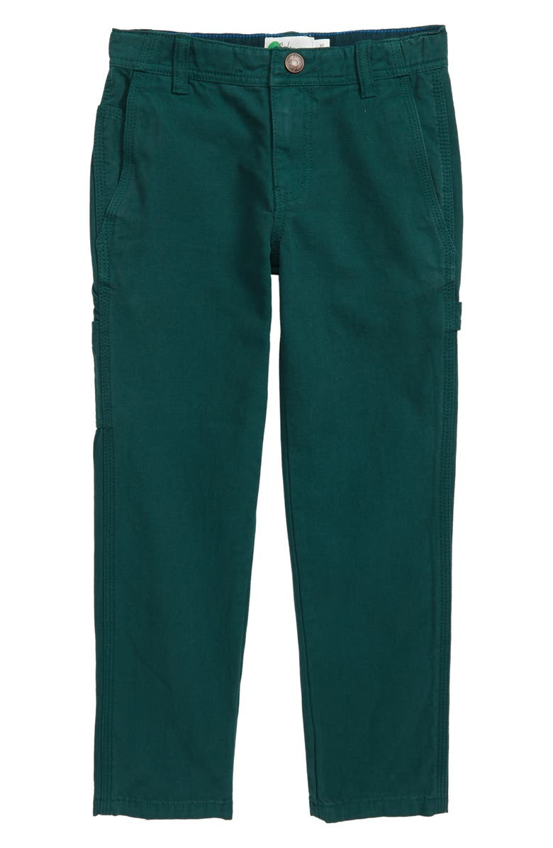 MINI BODEN Relaxed Carpenter Pants, Main, color, EMERALD NIGHT GREEN