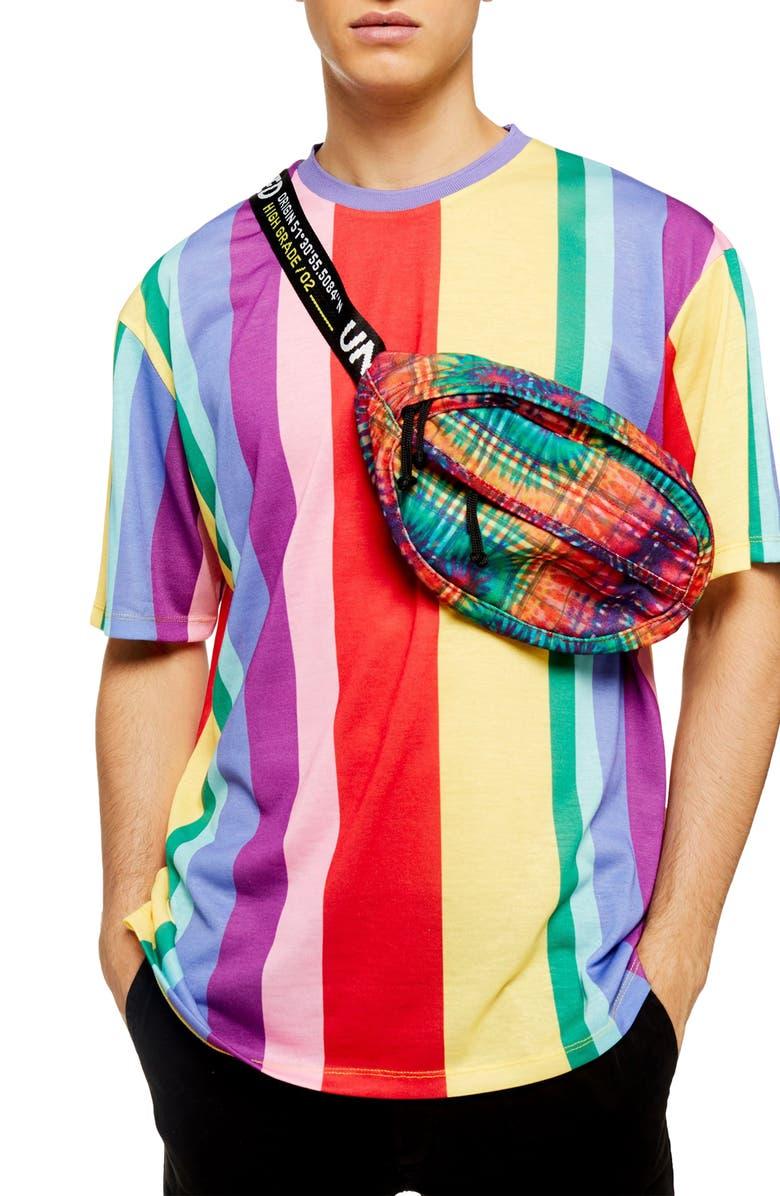 TOPMAN Rainbow Stripe T-Shirt, Main, color, YELLOW MULTI