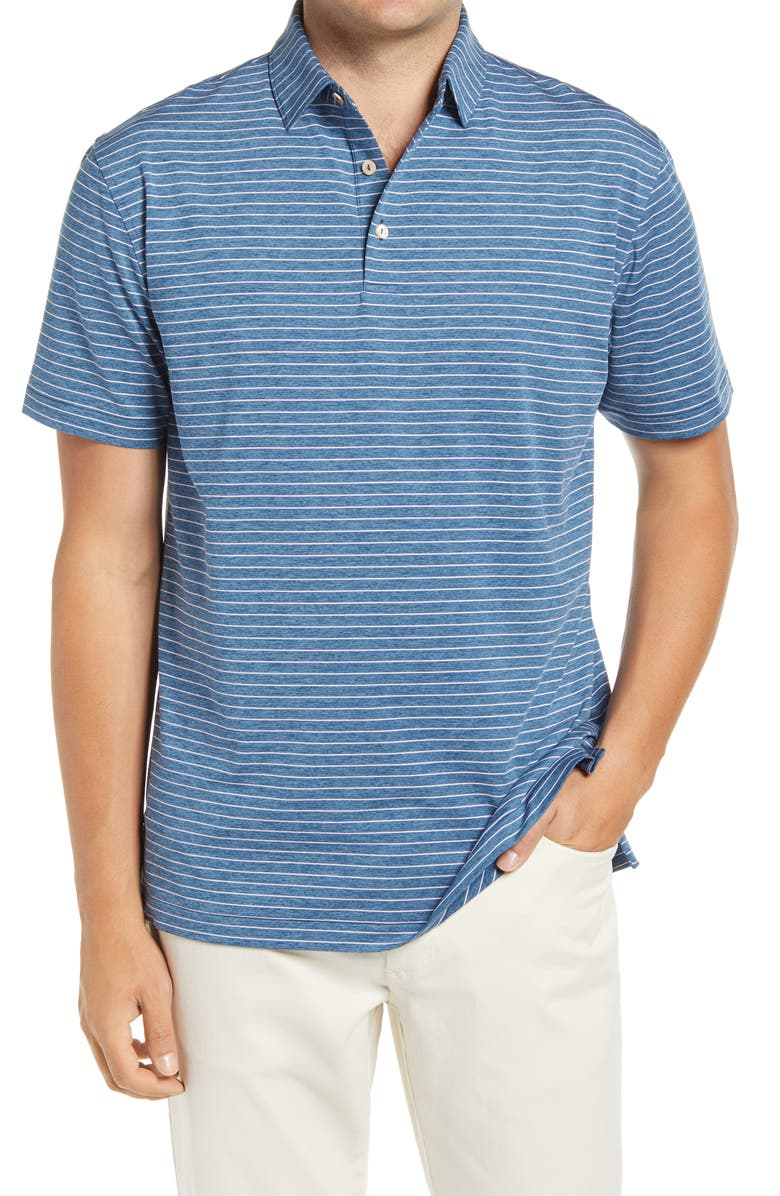 PETER MILLAR Crafty Pinstripe Performance Polo, Main, color, CITY BLUE