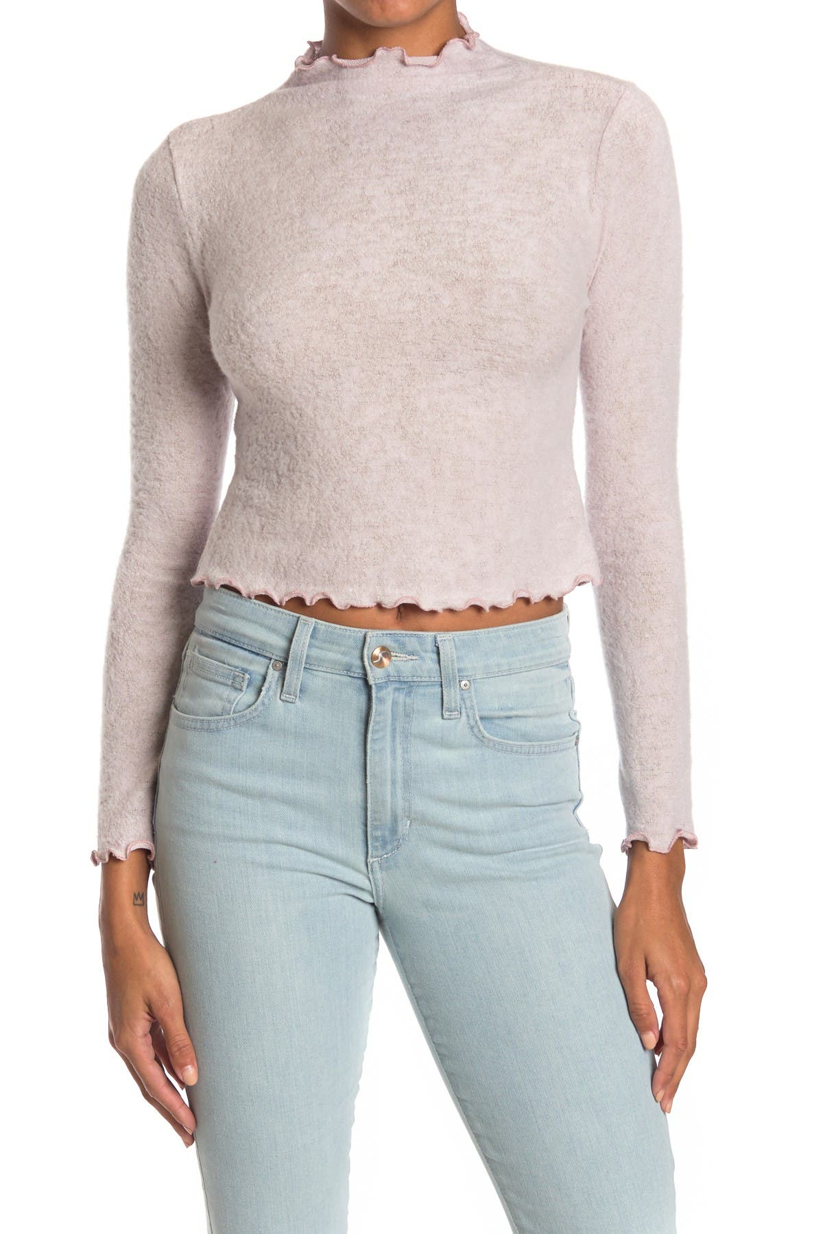 Image of Lush Long Sleeve Lettuce Trimmed Top