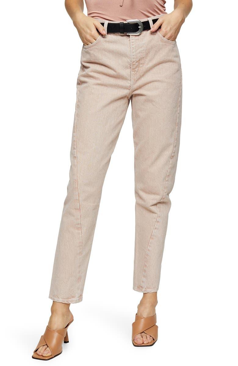 TOPSHOP IDOL Twist Seam Mom Jeans, Main, color, PEACH