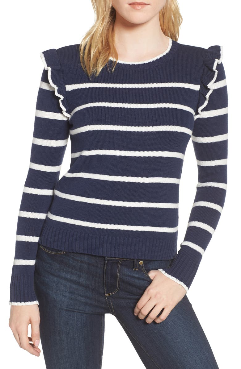 CUPCAKES AND CASHMERE Bryant Ruffle Stripe Sweater, Main, color, 401