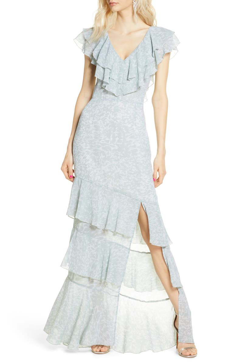 WAYF The Hailey Ruffle Tiered Gown, Main, color, SEAFOAM SHADOW PRINT