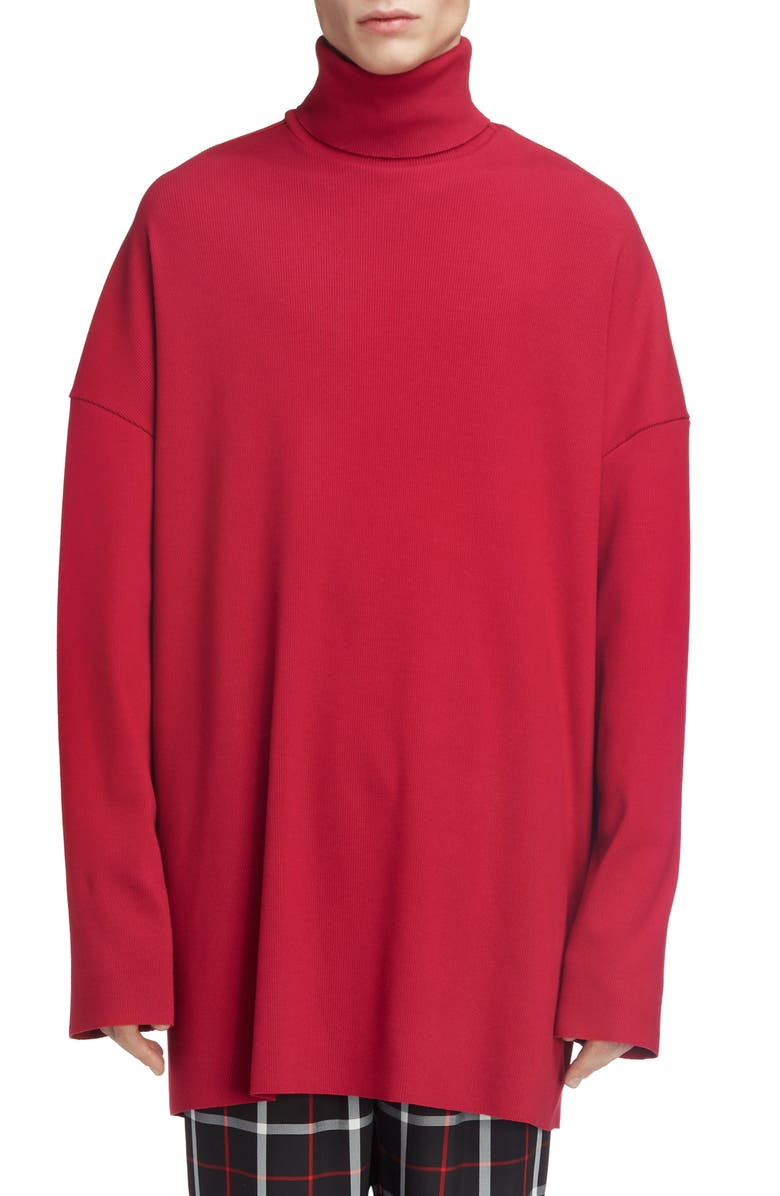 BALENCIAGA Big Fit Stretch Turtleneck Sweater, Main, color, BORDEAUX