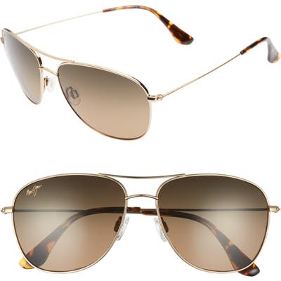 Maui Jim Cliff House 5m Polarizedplus2 Metal Aviator Sunglasses - Gold