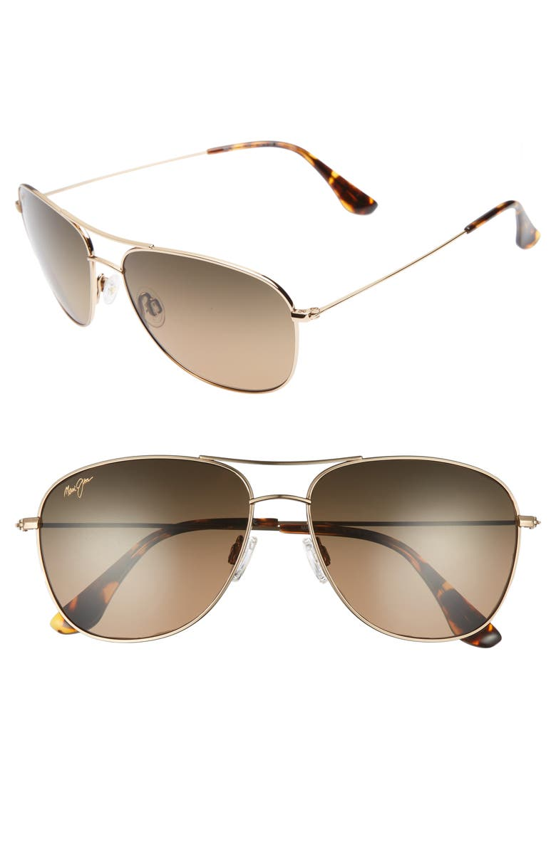 MAUI JIM Cliff House 59mm PolarizedPlus2<sup>®</sup> Metal Aviator Sunglasses, Main, color, GOLD