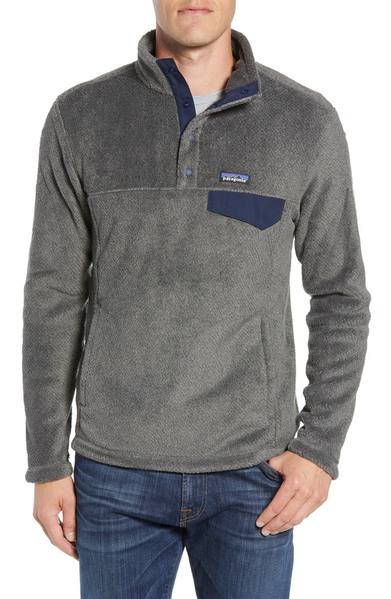 PATAGONIA Re-Tool Snap-T<sup>®</sup> Pullover, Main, color, FEATHER GREY - INK BLACK X-DYE