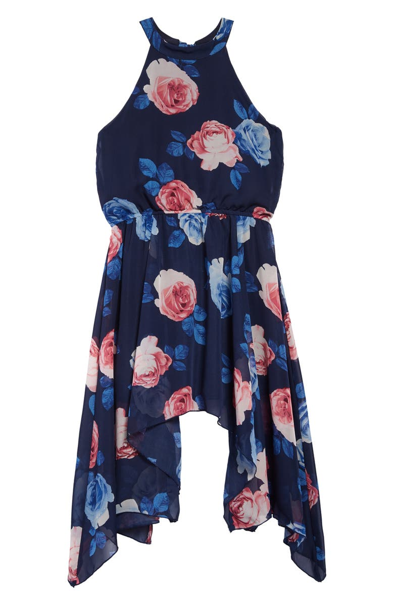 AVA & YELLY Rose Print Mock Neck Handkerchief Hem Dress, Main, color, NAVY
