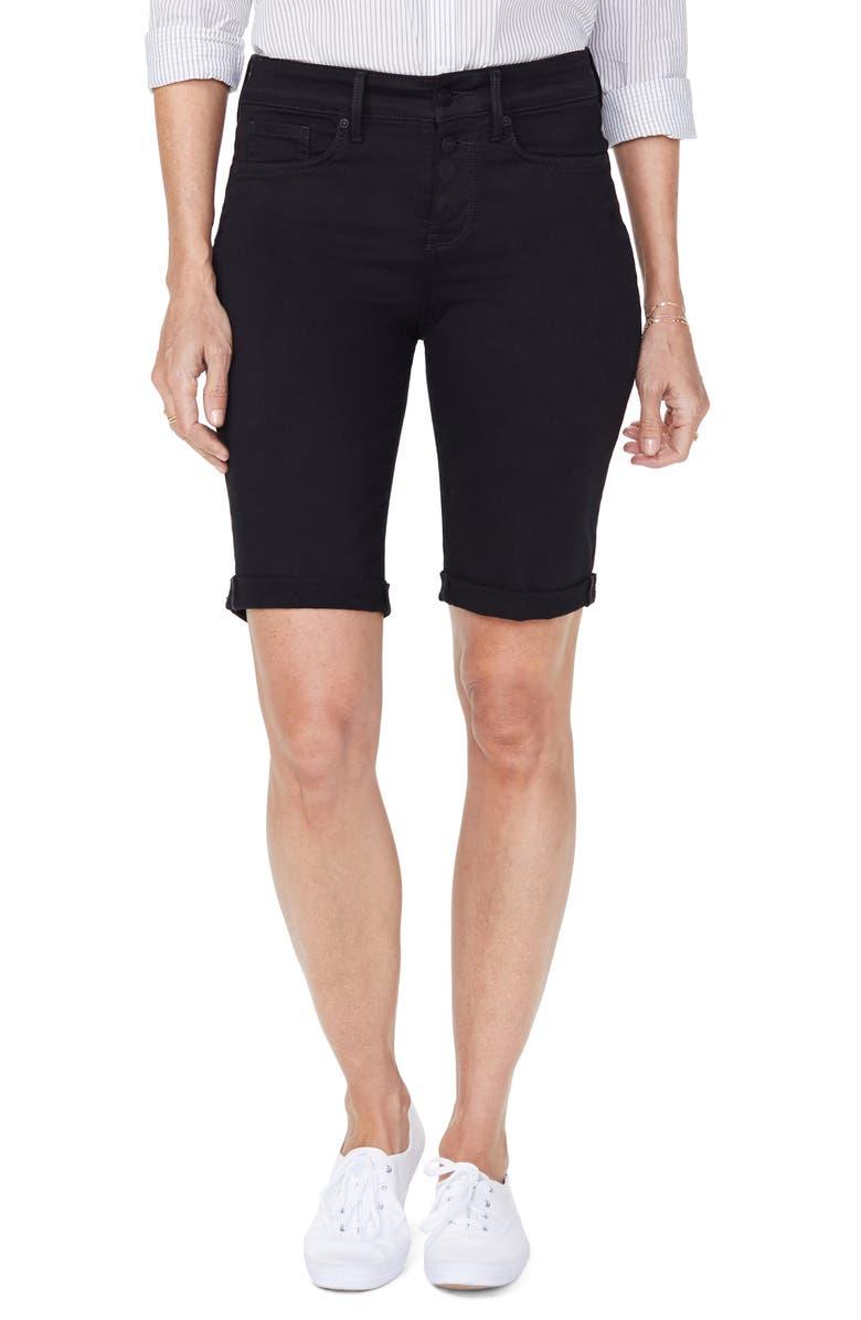 NYDJ Briella Roll Cuff Bermuda Shorts, Main, color, BLACK