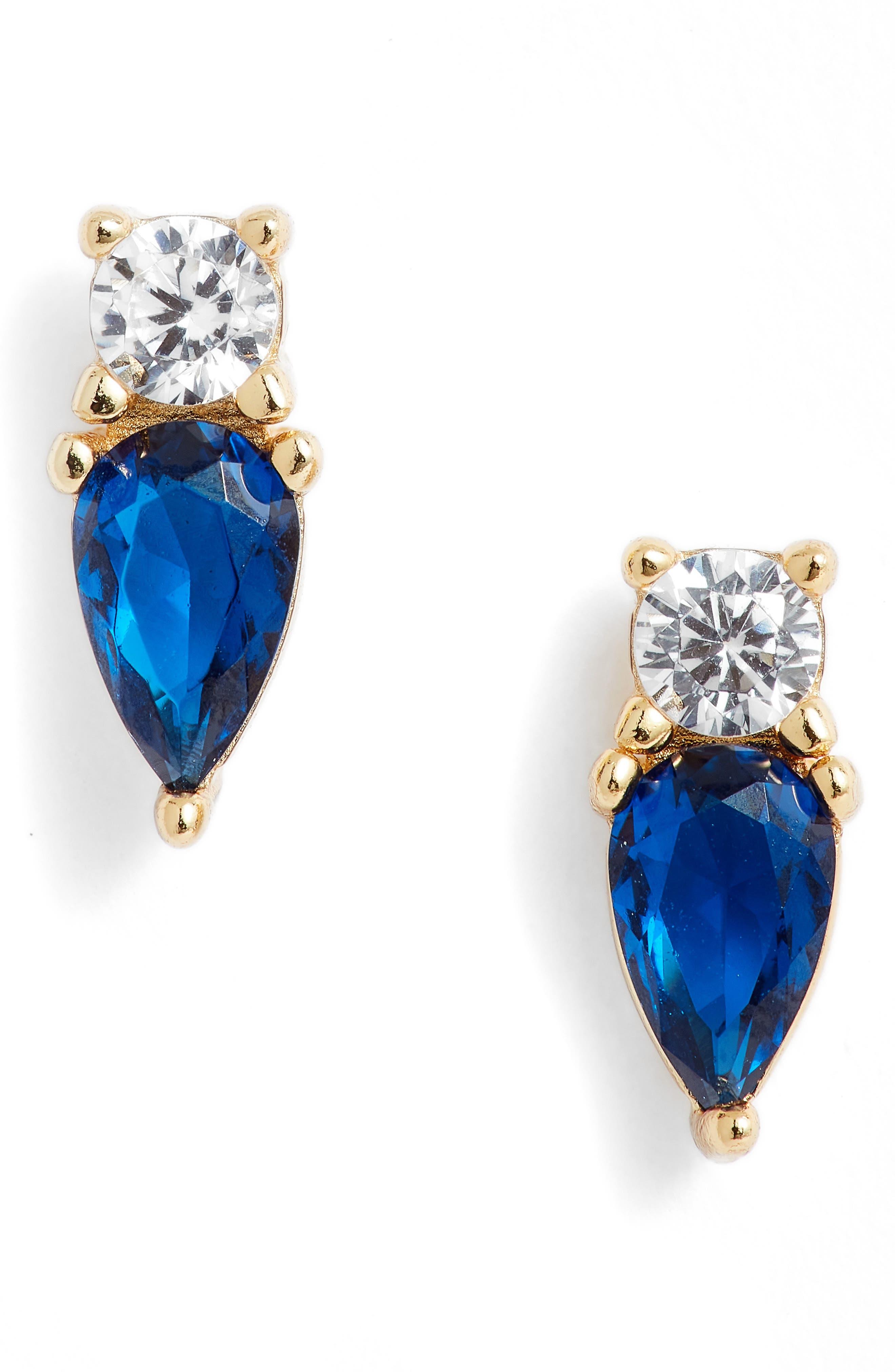 Cubic Zirconia Pear Stud Earrings