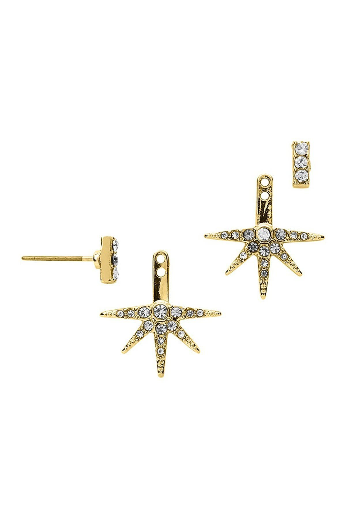 Image of Sterling Forever 14K Gold Plated Brass Pave Burst Ear Jackets