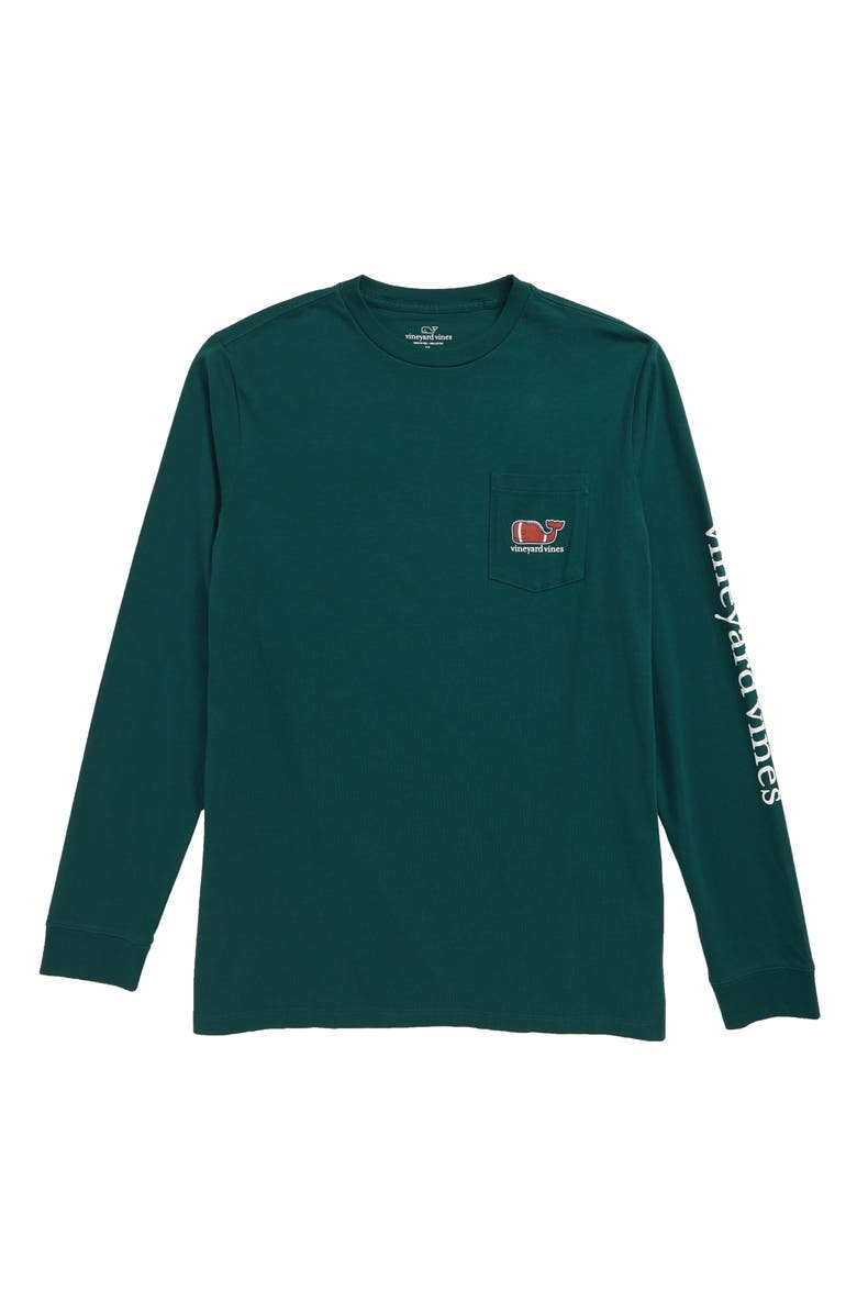 VINEYARD VINES Football Whale Pocket T-Shirt, Main, color, CHARLESTON GREEN