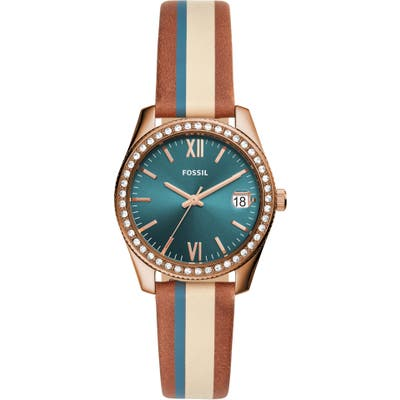 Fossil Scarlette Stripe Leather Strap Watch, 32Mm