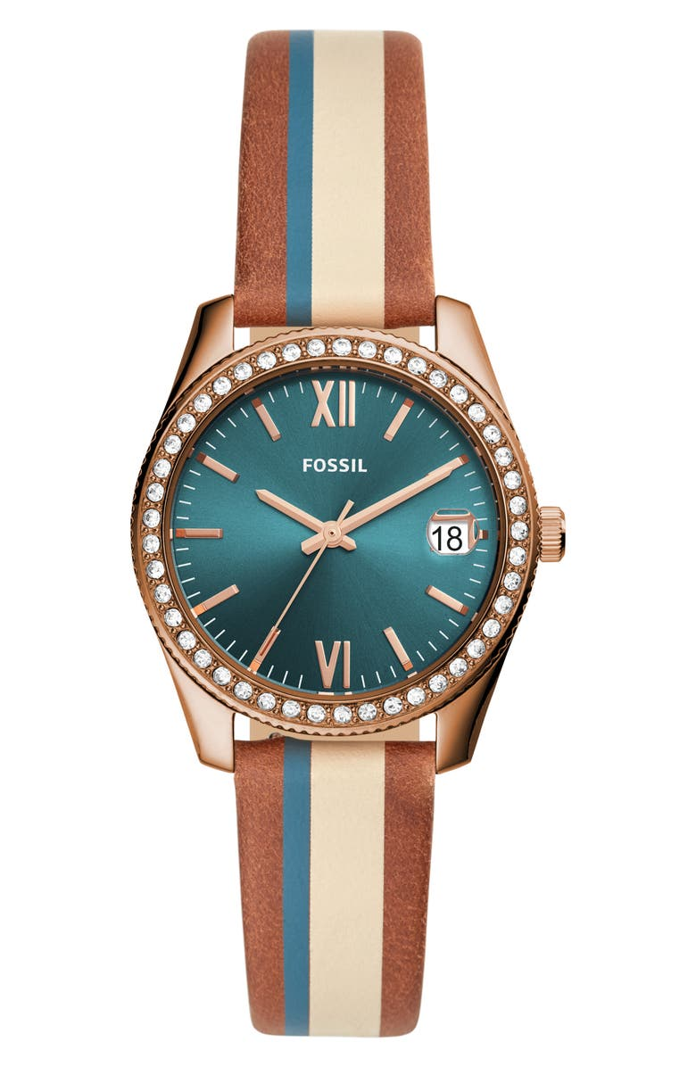 FOSSIL Scarlette Stripe Leather Strap Watch, 32mm, Main, color, BROWN/ BLUE/ ROSE GOLD